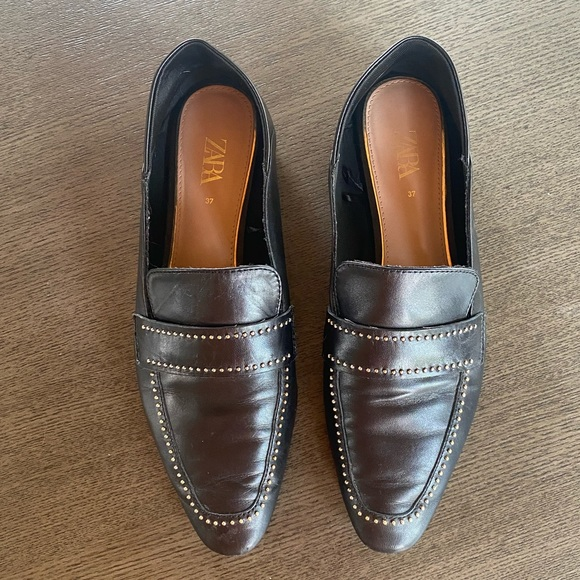 Black Zara Loafers with Gold Accents